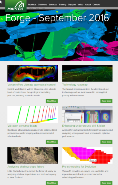 Maptek Forge Newsletter September 2016